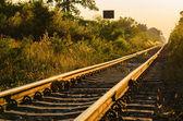 Railway and sunrise — Stock Photo