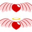 Stock Vector: Red heart and wings