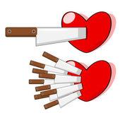El empuje de cuchillo en el corazón — Vector de stock