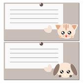 Fumetto illustrazione di nota cane e gatto — Vettoriale Stock