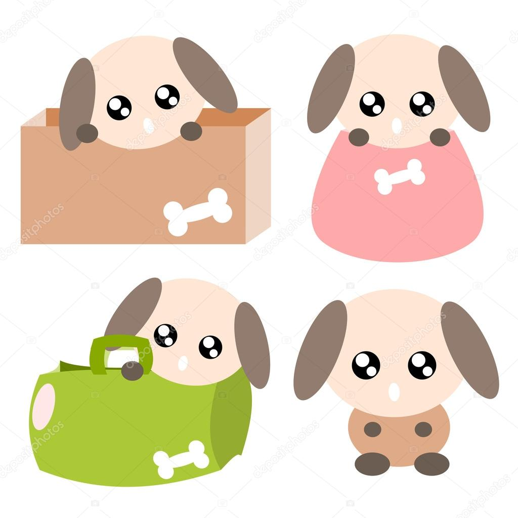 卡通狗行动和情感可爱的概念图