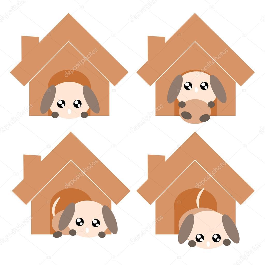卡通狗在房子图