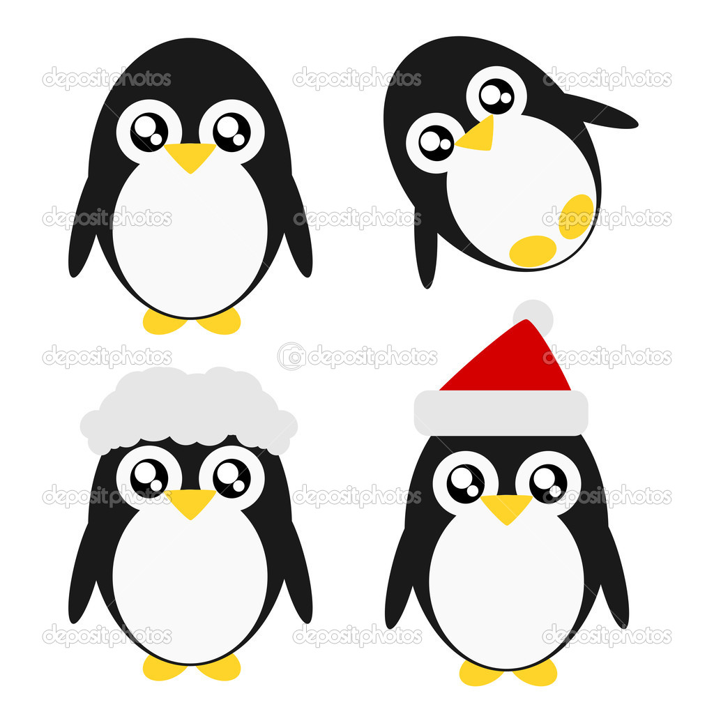 cartoon christmas penguins