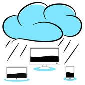 Bulut bilgisayar çizimi — Stok Vektör