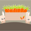 Cartoon rabbit and carrot illustration - Stockvectorbeeld