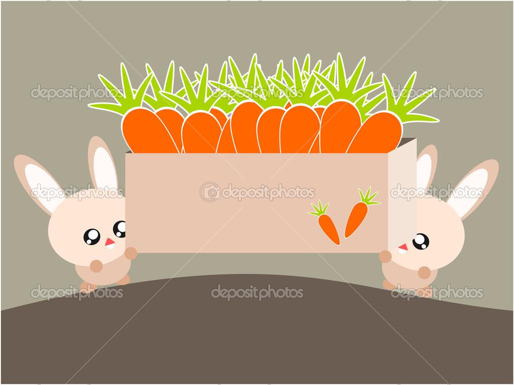 卡通兔子和胡萝卜图