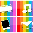 E-mail music movie photo in colorful background illustration — Stock Vector