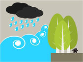 Tree protect tsunami illustration — Stock Vector