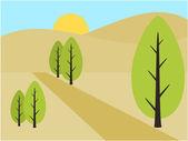 Ilustração de dia de vista montanha e árvore — Vetorial Stock