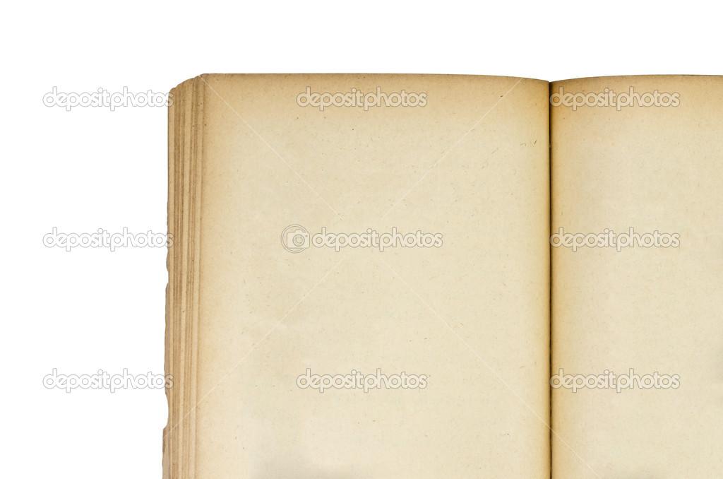 在白色背景中打开旧的棕色的书纸– 图库图片