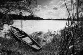 Rzeki łodzi i niebo — Zdjęcie stockowe