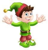 Christmas elf waving — Stock Vector
