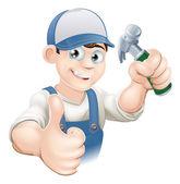 Pulgares arriba carpintero o el constructor — Vector de stock