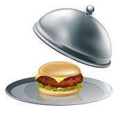 Cheese burger on silver platter — Stock Vector
