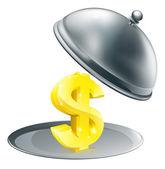 Dollar on silver platter concept — Stock Vector