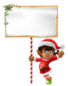 Christmas elf holding a sign — Stock Vector