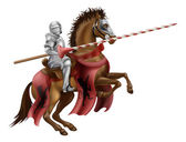 Knight with lance on horse — Stock Vector