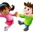 twee cartoon dansers dansen — Stockvector  #12235558