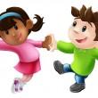 dos bailarines de dibujos animados bailando — Vector de stock