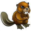 Happy Cartoon Beaver — Imagen vectorial