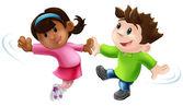 Dois dos desenhos animados de bailarinos dançando — Vetorial Stock