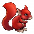 Red Cartoon Squirrel - Stock Vector