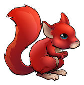 Red Cartoon Squirrel — Stock Vector
