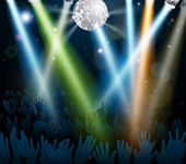 Mirror ball dance floor crowd — Stock Vector