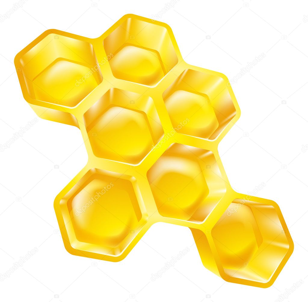 Illustration of bees wax honeycomb full of delicious honey   #12265772