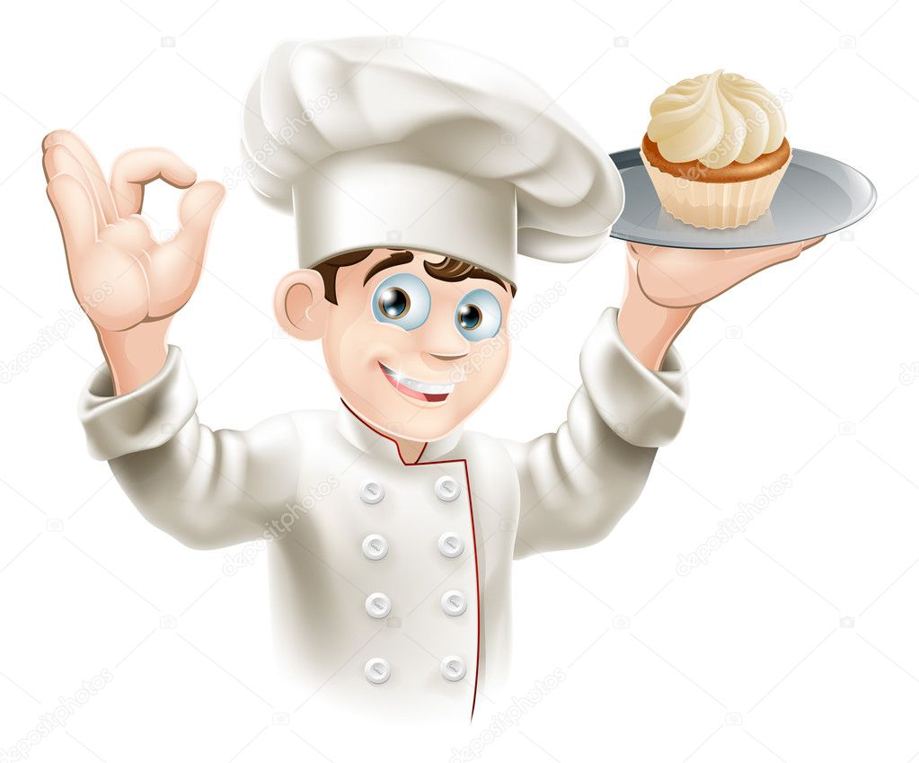 Illustration of baker holding a tray with a cupcake on it — Stock Vector #12265777