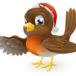 Christmas Robin bird pointing — Stock Vector #12307949