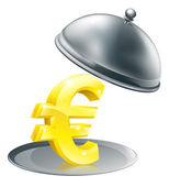 Euro on silver platter concept — Stock Vector