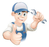 Thumbs up plumber or mechanic — Stockvector
