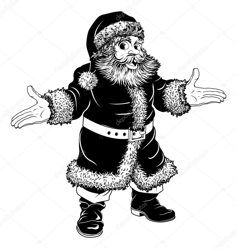 schwarze und wei e weihnachten weihnachtsmann stock. Black Bedroom Furniture Sets. Home Design Ideas