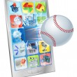 Baseball ball flying out of cell phone — Stock Vector