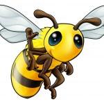 Happy waving cartoon bee — Stock Vector #12737812