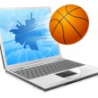 Basketball ball laptop concept — Stock Vector
