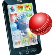 Cricket ball flying out of mobile phone - Stock Vector