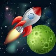Cartoon rocket in space - Vettoriali Stock
