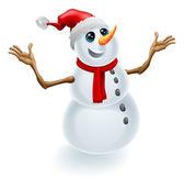 Christmas Snowman Wearing Santa Hat — Stock Vector
