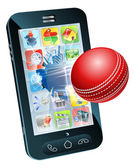 Cricket ball flying out of mobile phone — Stock Vector