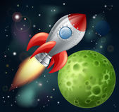 Cartoon rocket in space — Vector de stock