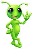 Little green man alien — Stock Vector