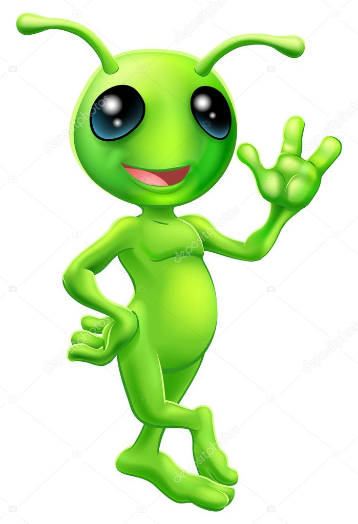 Piccolo alieno verde uomo — vettoriali stock krisdog