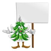 Рождественская елка талисман с знак — Cтоковый вектор