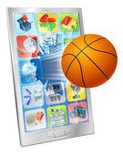 Basketball ball mobile phone — Stock Vector
