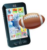 Telefono cellulare palla di football americano — Vettoriale Stock