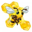 Cartoon bee with honeycomb — ストックベクタ