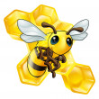 Cartoon bee with honeycomb — Imagen vectorial