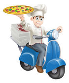 Pizza chef moped delivery — Stock Vector